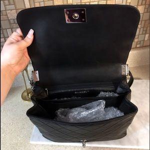 CHANEL Bags - Auth. Chanel Black Le Boy Lambskin Messanger Bag